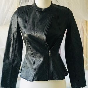 Black Faux Leather Peplum Jacket